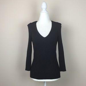 Wolford - Ribbed V-Neck Tab Shoulder Sweater